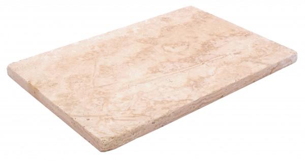 Travertin Vanilla Bodenplatten 60x40x3cm, Oberfl. geschliffen, Kanten getrommelt