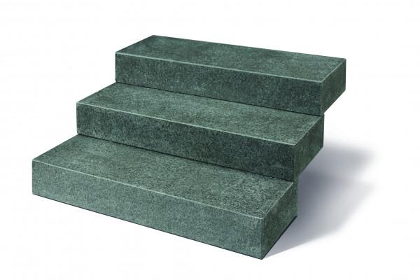 Basanit Blockstufen kristallschwarz 15/35/100 cm allseits gesägt und geflammt