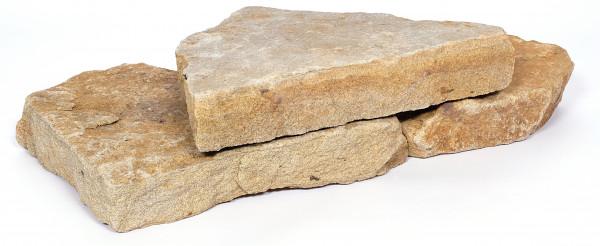 Teuto Mauerstein bruchrau, plattig naturbelassen palettiert 4-15/15-30/15-40 cm