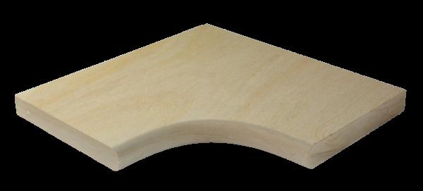 Sand Dunes Poolecke 5x35x60/60 cm, OF gestrahlt, gesägt, einseitig Halbrundstab