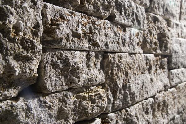 Muschelkalk-Systemmauerwerk 7,5/20 cm, freie Länge Lager- + Stoßfugen gesägt