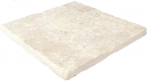 Travertin Vanilla Bodenplatten 40x40x3cm, Oberfl. geschliffen, Kanten getromelt