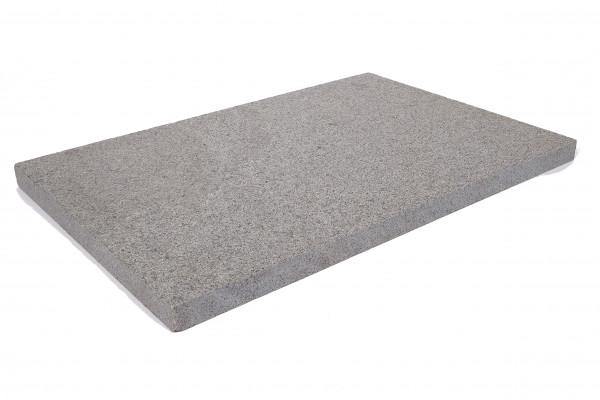 Granit Bodenplatten anthrazit 60/40/3 cm Oberfläche geflammt, Kanten gesägt/gef