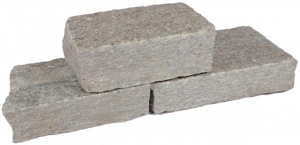 Luserna Gneis Mauersteine grau 8-12/18-25 cm gespalten