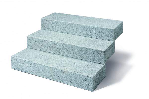 Granit Blockstufen grau 15/35/100 cm allseits gesägt und geflammt