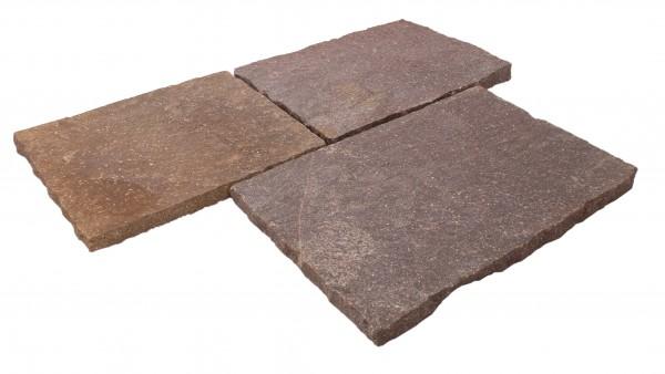 Porphyr Bodenplatten rotbunt, 40/3-6 cm stark, freie Längen, handbekantet